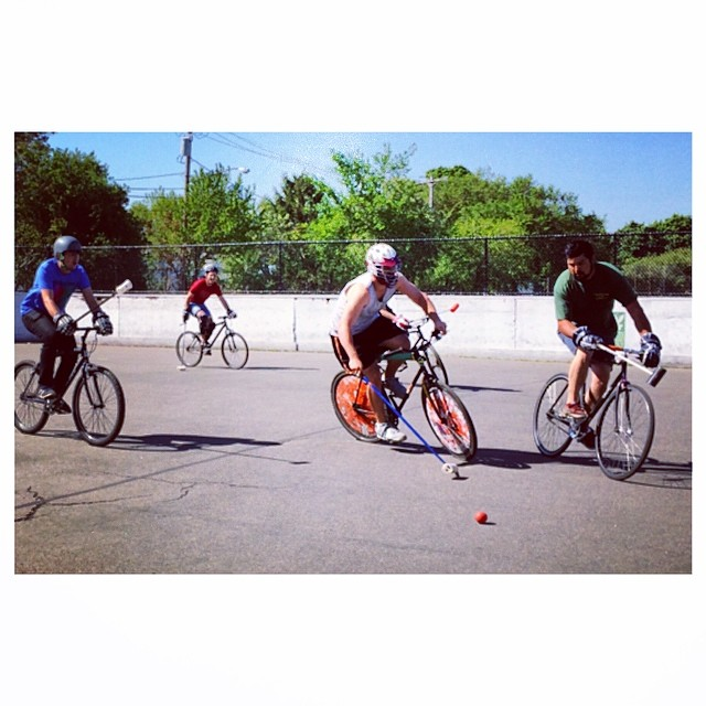 Tried my hand at #bikepolo today #bostonbikepolo