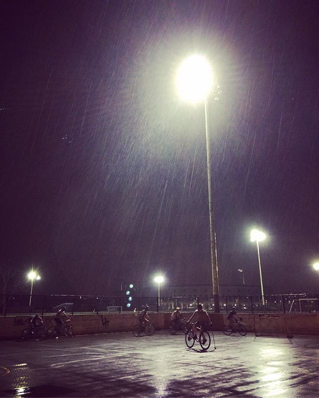 Humidity reading high #waitforalull #bikepolo #softballstillplaying #waterdelay #bostonbikepolo