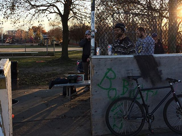 See those big yellow machines in the background? . #theendisnigh #bikepolo #bostonbikepolo #bostonbikepolocourt